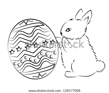 Cute Easter bunny with a big egg. Raster version.