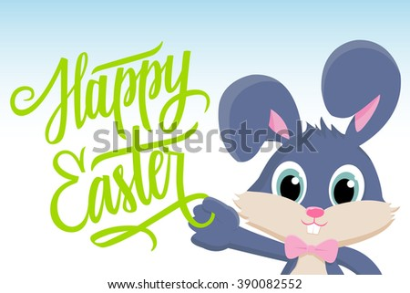 Cute easter bunny with Happy Easter greetings. Happy Easter greeting card. Handwritten inscription Happy Easter. Happy Easter lettering. Happy Easter symbol. - stock photo