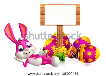 Cute Easter Bunny with wooden sign - stock photo