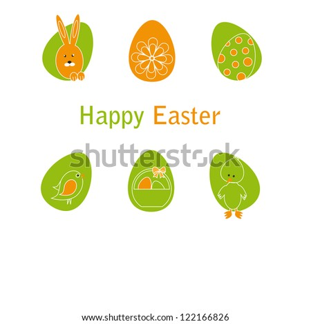 Cute easter card with birds, eggs, rabbit and chicken