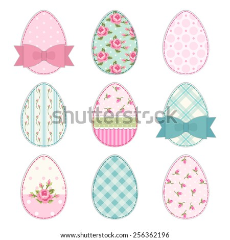 Cute Easter eggs as vintage fabric patch applique in shabby chic style - stock photo