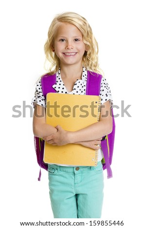 Cute Elementary School Girl Isolated on white background - stock photo