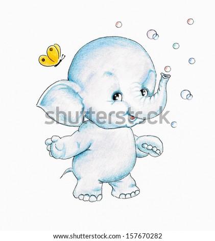 Cute elephant - stock photo