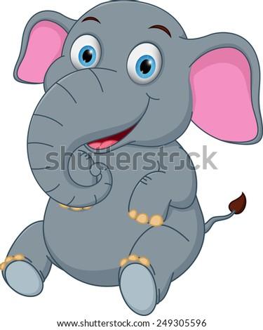 Cute elephant cartoon sitting  - stock photo