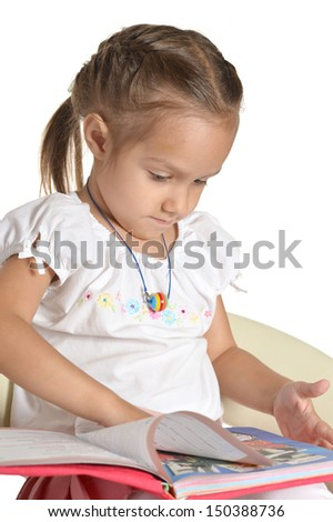 cute emotional little girl on white background