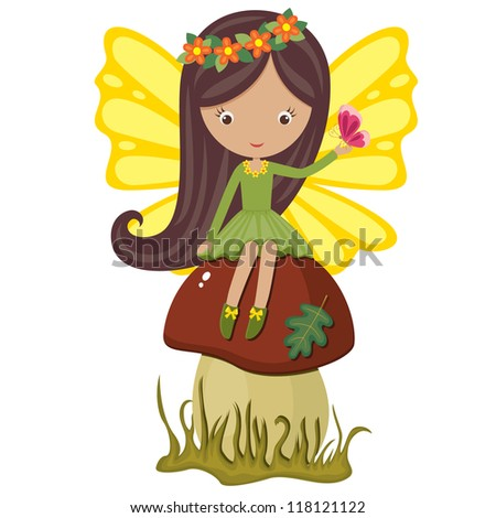 Cute fairy sitting on a mushroom with butterfly - stock photo