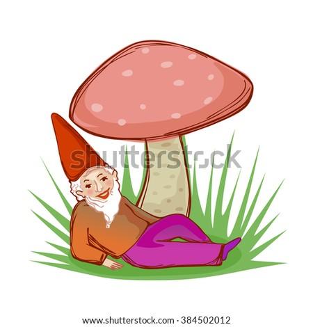 cute fairytale dwarf resting under a big mushroom - stock photo