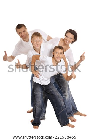 Cute family isolated on a white background