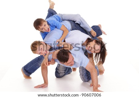 cute family of a four on a white - stock photo