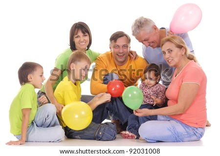cute family of a six with baloons