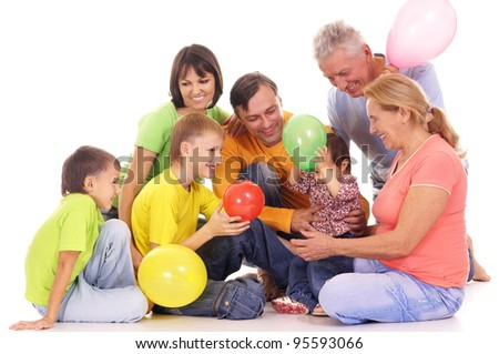 cute family of a six with baloons - stock photo