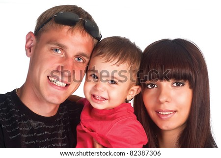 cute family of a three on a white