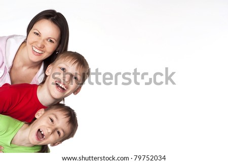 cute family of a three on a  white background