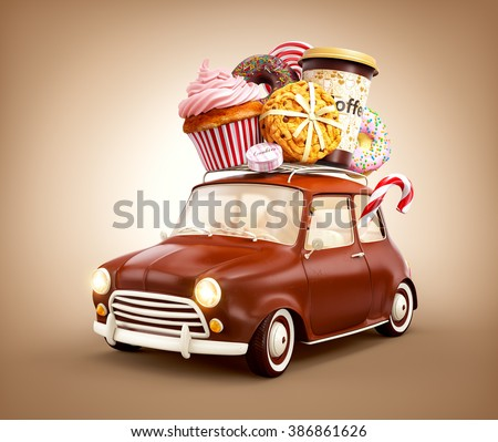 Cute fantastic chocolade car with sweets and coffee on top.   - stock photo