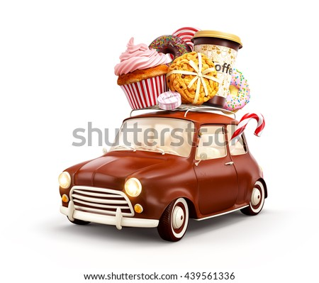 Cute fantastic chocolade car with sweets and coffee on top. Creative advertising 3d illustration Isolated on white background