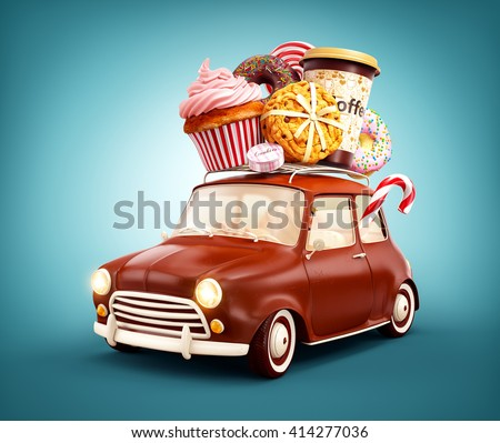 Cute fantastic chocolade car with sweets and coffee on top. Unusual 3D illustration of cartoon made up car
