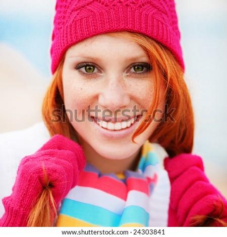 Cute fashion girl wearing winter clothing - stock photo