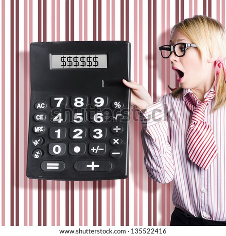 Cute female account clerk holding massive calculator with dollar sign symbols on screen. Big return on investment concept