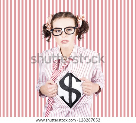 Cute Female Business Superhero Showing The American Dollar Symbol On Shirt In A Depiction Of Leadership In Finance And Accounting - stock photo