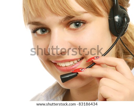 Cute female customer service operator smiling at camera. Isolated on white