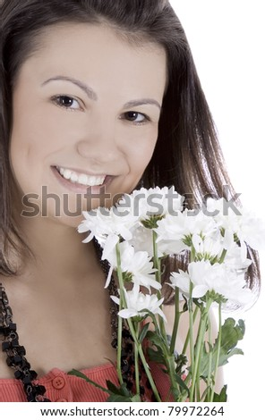 Cute female in red dress with flowers posing over white - stock photo
