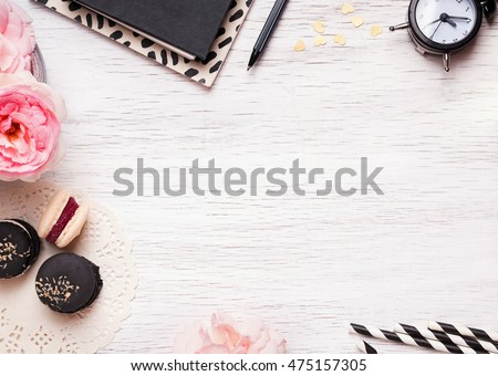 Table Top View cute feminine stuff on white table stock photo 475157305