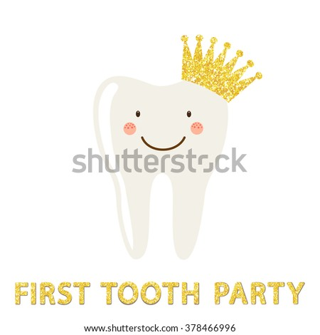 Cute greeting card tooth fairy day stock vector 378725152 for Baby first tooth decoration