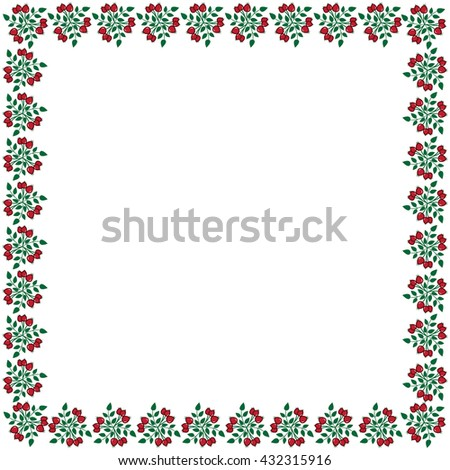 Cute frame made of colored arranged in a square on white background