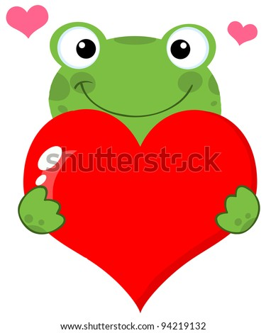 Cute Frog Holding A Heart - stock photo