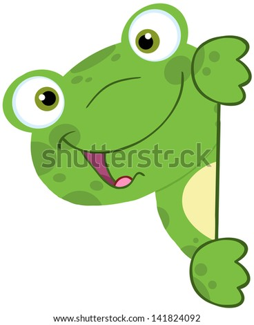 Cute Frog Smiling Behind Blank Sign. Raster Illustration.Vector Version Also Available In Portfolio. - stock photo