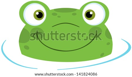 Cute Frog Smiling From Water. Raster Illustration.Vector Version Also Available In Portfolio. - stock photo