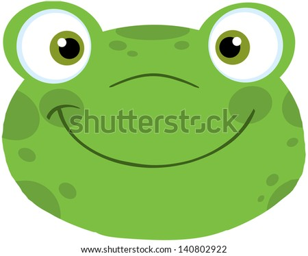 Cute Frog Smiling Head. Raster Illustration - stock photo