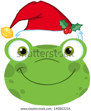 Cute Frog Smiling Head With Santa Hat. Raster Illustration - stock photo