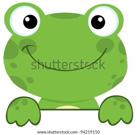 Cute Frog Smiling Over A Sign Board - stock photo