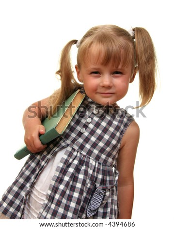 cute funny girl with her book - stock photo