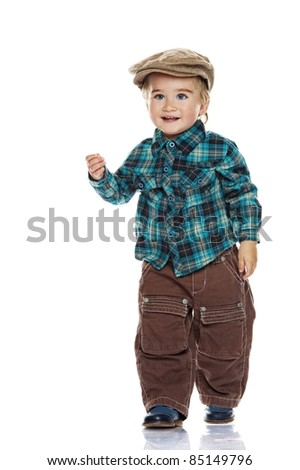 Cute funny little boy isolated on white. - stock photo