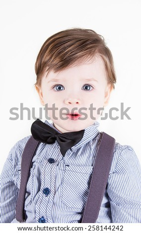 Cute funny little boy smiling - stock photo