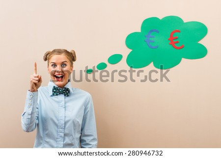 Cute geek girl has got idea how to earn money.I have idea how to earn money! - stock photo