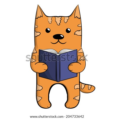Cute ginger reading cat with blue book - stock photo