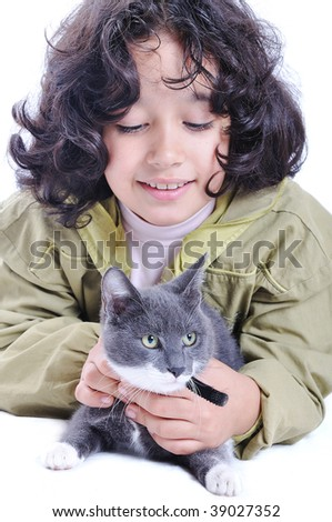 Cute girl and cat