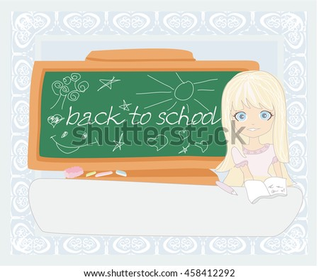 Cute girl at the table - Back to school - stock photo