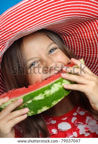 cute  girl eating water-melon - stock photo
