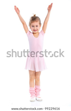 Cute girl gymnast isolated on a white background