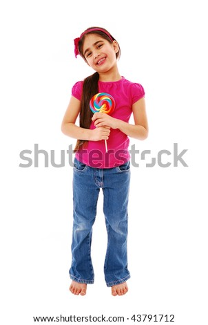 Cute girl holding lolly pop isolaed on white