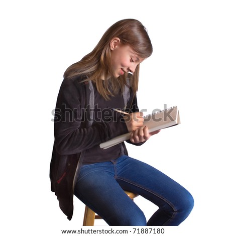 Cute girl holding sketchbook and pencil - stock photo