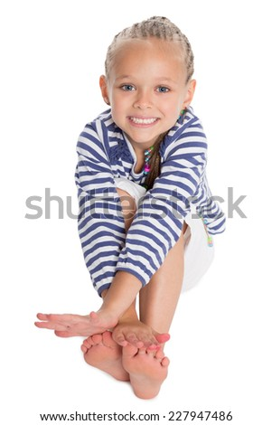 Cute girl in the form of a sailor boy. Girl is six years old. - stock photo