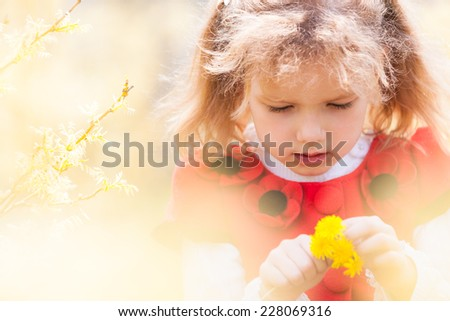 Cute girl in the park. - stock photo