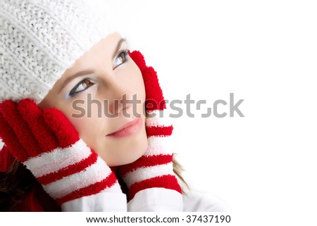 Cute girl in winter clothes - stock photo