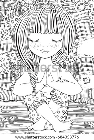 Cute Girl Yoga Pose Adult Coloring Stock Vector 577891792