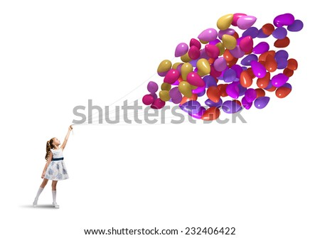 Cute girl of preschool age with bunch of balloons isolated on white - stock photo